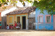 Brazil Bahia Caraiva Local People Sitting In Front Of Colonial Terracotta Roof House Terracotta Roof Bahia
