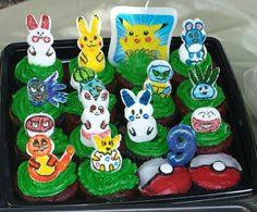 Pokemon Party: Pokemon peeps topped cupcakes and pokeball cupcakes