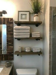 bathroom shelves One Deep Industrial Floating Shelf, Rustic Shelf, Pipe Shelf. The stain used will give it that quot; look that is so popular now. I will customize and make the shelves as long or as short as you need them to fit your space. Industrial Floating Shelves, Floating Shelves Diy, Rustic Shelves, Rustic Bathroom Shelves, Decorating With Floating Shelves, Pallet Shelf Bathroom, Wood And Pipe Shelves, Decorative Shelves, Pipe Shelving