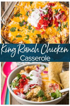 King Ranch Casserole is a creamy, cheesy, Tex-Mex inspired casserole filled with amazing ingredients. This King Ranch Chicken Casserole is made without canned soup or Velveeta! Velveeta Recipes, Macaroni Recipes, Easy Casserole Recipes, Casserole Dishes, Tortilla Casserole, Mexican Food Recipes, Dinner Recipes, Dinner Ideas, Mexican Entrees