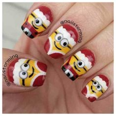 Christmas Minion nails!!!!