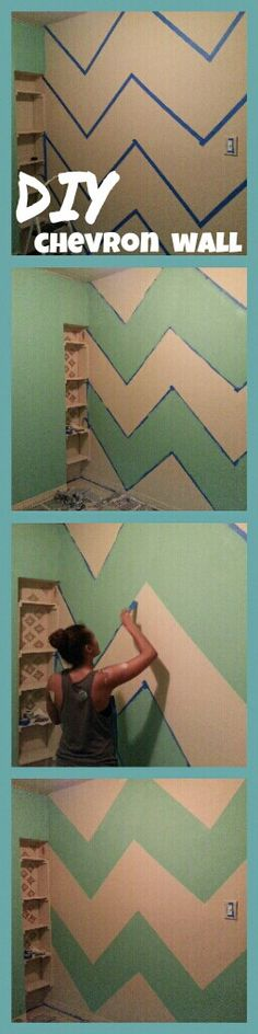 DIY mint and creme chevron bedroom walls. 2 feet x 2 feet (make small dots with a pencil where each point should be, dots will be 2 feet apart horizontally and vertically)