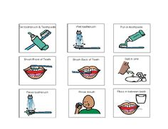 These are picture symbols used to create a Visual Schedule for Brushing Teeth.Print a copy of the symbols. Use a strip of posterboard as a base o. Autism Help, Visual Schedule Autism, Visual Schedules, Sequencing Activities, Therapy Activities, Social Stories Autism, Autism Crafts, Task Analysis, Occupational Therapy