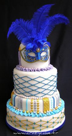 Venetian wedding cake by Crazy Cake - Cakedesigner57, via Flickr - we love the mask!  Masks from CFF: http://www.craftsfeathersfloral.com/home/cff/listitems_135/masks.html