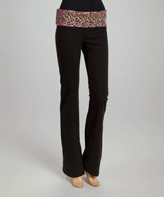 This Black & Pink Floral 'Love' Lounge Pants - Women by Hybrid & Company is perfect! #zulilyfinds
