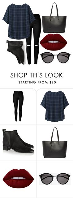 """""""Casual pt.9"""" by madsofo on Polyvore featuring Uniqlo, Acne Studios, Yves Saint Laurent and Lime Crime"""