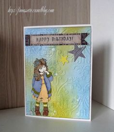 Birthday card - embossing and distress ink