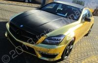 Mercedes CL63 AMG wrapped by chrome vinyl car wrap specialists Totally Dynamic South London in Avery gold vinyl with carbon fibre vinyl deta...