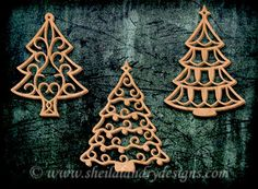 SLDK395 - 10 FIligree Christmas Tree Ornaments