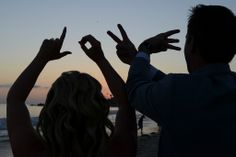 Sunset Beach Wedding Photo - Love - Cute Idea! #beachwedding #sunsetwedding #love #weddingphoto
