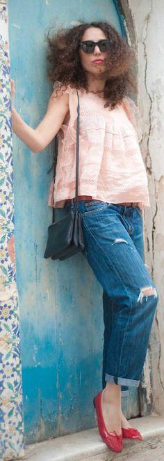 Current/elliott Blue Distressed Denim Rolled Cuff Mid Rise Boyfriend Jeans