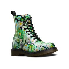 Dr. Martens Pascal 8 Boots ($150) ❤ liked on Polyvore featuring shoes, boots, ankle booties, green paint slick backhand, short boots, leather ankle boots, sport boots, leather booties et dr. martens