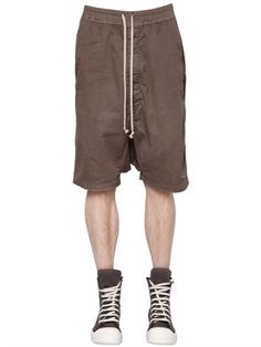 RICK OWENS Drkshdw Stretch Cotton Shorts, Dna Dust. #rickowens #cloth #shorts