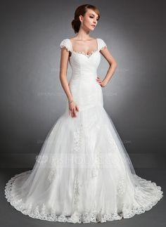 Trumpet/Mermaid Sweetheart Chapel Train Satin Tulle Wedding Dress With Ruffle Lace Beading (002015150)