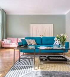 Reconstruction of cubistic flat in Prague. Pink Sofa, Ikea Furniture, Prague, Sofas, Couch, Flat, Decoration, Wallpaper, Home Decor