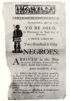 1769 | The Slave Auction, Charlestown.  Once in the Americas, slaves were sold, by auction.