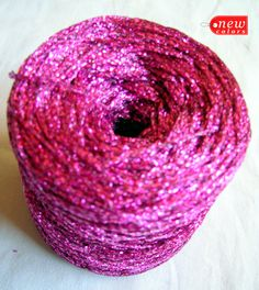 Glitter Yarn Shine sparkle yarn hot pink color yarn by HandyFamily, €2.85