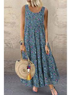 hot sale bohemian floral print sleeveless plus size maxi dress - The world's most private search engine Floral Print Maxi Dress, Boho Dress, Print Maxi Dresses, Plus Size Maxi Dresses, Nice Dresses, Awesome Dresses, Dresses Dresses, Fashion Dresses, Shoes For Dresses