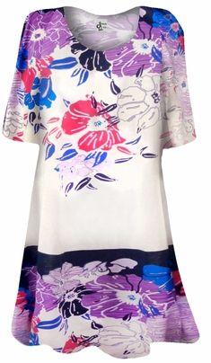 b05f3c69f7e Purple Oriental Flower Print Plus Size   Supersize Extra Long T-Shirts 0x  1x 2x 3x 4x 5x 6x 7x 8x 9x Customizable!