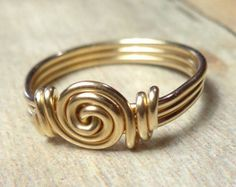 Gold Ring, Swirl Ring, Gold Wire Ring, Mothers Day Gift, Cute Ring, Wire Wrapped Ring, Size 3 4 5 6 7 8 9 10 11 12 13 14, Spiral Ring