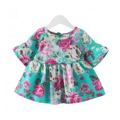 Baby Girl's Falbala-Sleeve Floral Dress