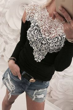 New Spring Sexy Lace Blouses Shirts Women Patchwork Off Shoulder Tops 2018 Blusas 4 Colors Slim Party Womens Blouse Cold Shoulder Blouse, Off Shoulder Tops, Kleidung Design, Blouses For Women, T Shirts For Women, Sexy Women, Sexy Shirts, Work Tops, Look Chic