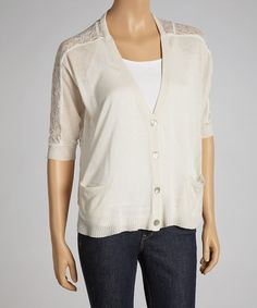 Take a look at this Oatmeal Lace-Back Cardigan by MAK on #zulily today!