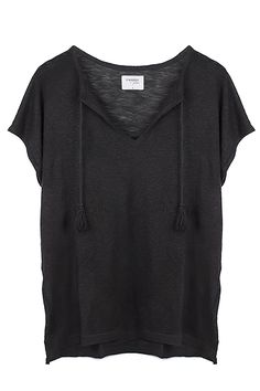 MAYA OVERSIZED LINEN TOP - BLACK