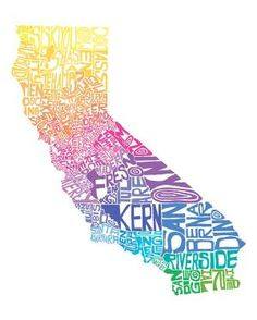 California Cool Typography Map Art Print Customizable by CAPow Cool Typography, All I Ever Wanted, California Dreamin', California Fashion, California Girl Quotes, California History, Le Far West, So Little Time, In This World