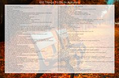 100 Things To Do In Autumn