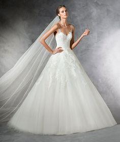 PRALA - Vestido de novia de tul estilo princesa con detalles pedrería