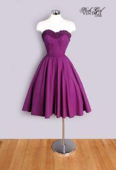 1950's Purple Cotton Vintage Tea length Ruffle Dress