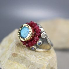 22eb5890e Ruby Flower Ring, Sterling Silver Labradorite Ring, Ruby Ring, Statement  Jewelry, July Birthstone Jewelry, Birthstone Ring, Ruby Jewelry