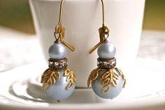 Grey Elegance. vintage beaded,rhinestone earrings. Tiedupmemories