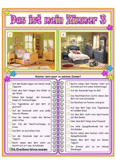 Mein Zimmer _ 3 Study German, Learn German, Language Activities, Activities For Kids, German Language Learning, Comprehension, Teaching Resources, Worksheets, Classroom