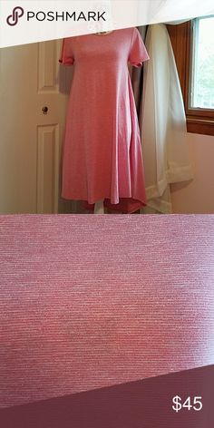 Lularoe Carly LLR pink Carly with very fine white lines, almost looking heathered. Size XS. Worn once and washed per LLR standards. LuLaRoe Dresses High Low