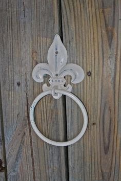 Hand Towel Ring /Ivory /Fleur de lis /Distressed by AquaXpressions, $16.99