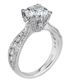 From Michael M. Collection Handcrafted pave and channel set diamond ring