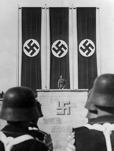 Adolf Hitler speaking to his Wehrmacht troopers,