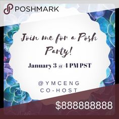 🎉 Please Share - Posh Party 🎉 2/3/17 @ 4 PM PST Please share!  When it rains, it pours!  My 2nd Posh Party as a co-host in 10 days!  How did I get so lucky?!? Join in the fun! Various Other