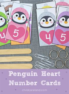 Penguin heart number cards can be used for matching ... sequencing ... and identification activities. Craft Stick Crafts, Preschool Crafts, Fall Crafts, Preschool Winter, Early Learning Activities, Classroom Activities, Classroom Ideas, Number Identification, Alphabet Cards