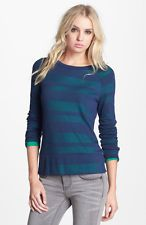 $88 (XS) Splendid Blue 'Quebec' Shadow Stripe Pullover Sweater Shirt (H-4)