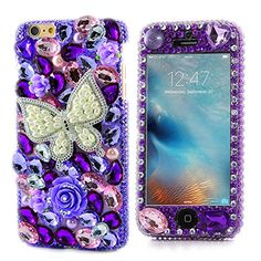 iPhone 6 Bling Case  Fairy Art Luxury 3D Sparkle Series Pearl Butterfly Rose Flowers Crystal Design Front  Back Snapon Hard Cover with Soft Wallet Purse Red Cloth Pouch  Purple ** Learn more by visiting the image link.