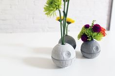 DIY Death Star pots from ice cube mold