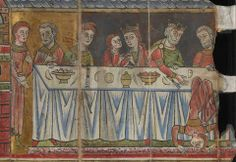 From the British Library manuscripts. Scene with Salome performing before Herod, Herodias and their guests, who are seated at the dinner table. Last quarter of the 12th C  Origin: France/Germany (Alsace, Hohenbourg)