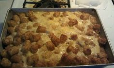 Tater Tot Casserole Duggar Style. 1 pound of ground beef slightly cooked and seasoned, put in a 13x9 ungreased pan, covered in Tater tots, then topped with a mixture of 1 can of cream of mushroom soup, 1 can of cream of chicken soup and 1 can of evaporated milk. Baked at 350 for 1 hour. An amazing dinner by itself!