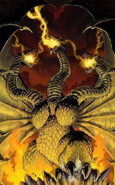 King Ghidorah: Godzilla's arch-enemy and my favorite besides Godzilla All Godzilla Monsters, Godzilla Comics, Horror Monsters, Scary Monsters, Godzilla Wallpaper, King Kong, Geeks, Godzilla Birthday, Giant Monster Movies
