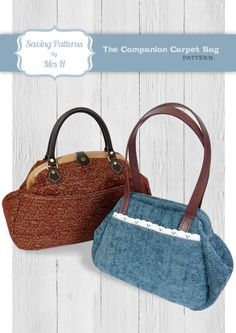 Companion Carpet Bag sewing pattern, as part of Bag of the Month Club 2015. Pattern by Sewing Patterns by Mrs. H.