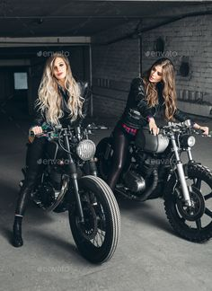 Bikers women in leather jackets with motorcycles by JohanJK on PhotoDune. Sexy biker girls sitting on vintage custom motorcycles. Beautiful women with Healthy Long Hair ringlets wearing styli...
