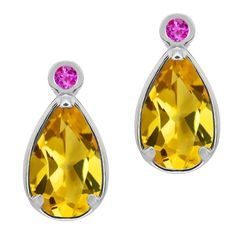 1.32 Ct Pear Shape Yellow Citrine Pink Sapphire 18K White Gold Earrings Gem Stone King http://www.amazon.co.uk/dp/B008CG3QNC/ref=cm_sw_r_pi_dp_A2BJub06D7YZQ